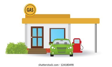 Gas station. Vector illustration