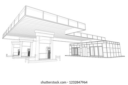 Gas Station. Vector rendering of 3d. Wire-frame style. The layers of visible and invisible lines are separated