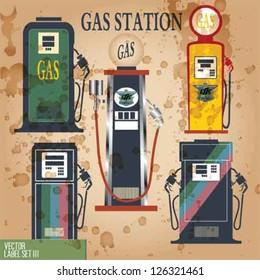 GAS STATION and VINTAGE LABEL VECTOR SET.