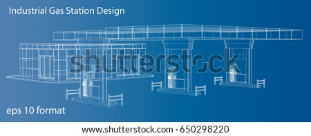 gas station  wire frame vector illustration  3d rendering