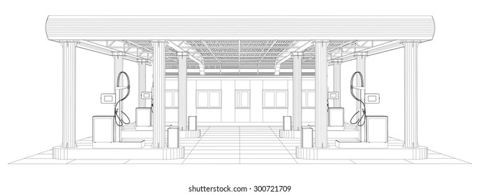 Gas station wire-frame line vector. Illustration created of 3d. EPS 10 vector format.