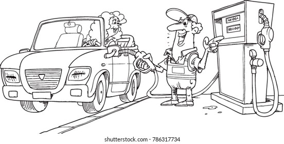 a gas station worker pumps fuel into a car