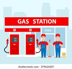 gas station workers in uniform concept illustration gas station with pumps and shop