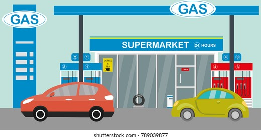 Gas station,supermarket and cars, flat vector illustration