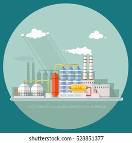 Gas storage spheres tank in petrochemical plant. Extraction and processing of liquefied. factory, station on the background of the urban landscape. flat icon