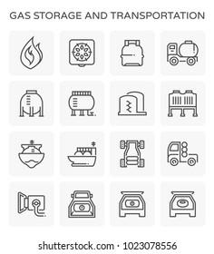 Gas storage and transportation icon set.
