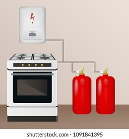 Gas stove and boiler with cylinder. The barrel is filled with butane and propane. Household equipment vector illustration.