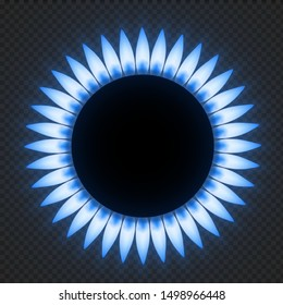 Gas stove flame. Realistic natures blue fire light effects. Vector illustrations flower burner plate flame isolated on transparent background