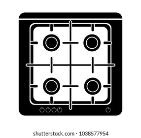 gas stove icon vector four gas cooker