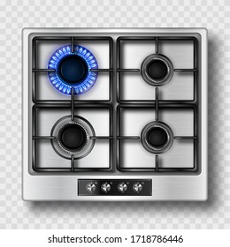 Gas stove top view with blue flame and black steel grate. Kitchen burner with lit and off hobs. Realistic 3d vector burning propane butane flame in cooking oven isolated on transparent background