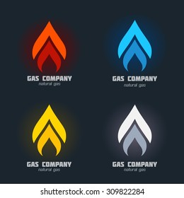 Gas Supplies, heating, fire alarm systems, furnace installation service icon set. Corporate identity concept, business sign template. Vector graphics for energy, gas, flames. Sample text. Editable