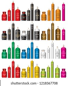 Gas Tank Cylinder Set Isolated on White. Vector Illustration. Containers and Balloons with Different Danger Gases. Nitrogen, Oxygen, Acetylene, Argon.
