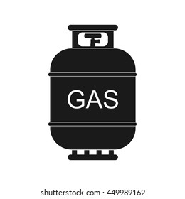 Gas tank icon in flat style. Propane cylinder pressure fuel gas lpd isolated on white background.