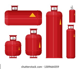 Gas tank set icon in flat style vector.