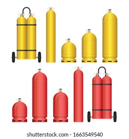Gas tank set vector illustration isolated on white background