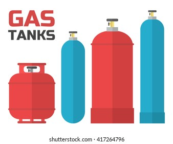 Gas tanks set. Various gas tanks in flat style. Oxygene, propane, butane, methane...Vector illustration