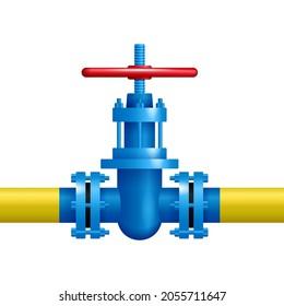 Gas valve realistic illustartion - gasification gate fof fossil gases