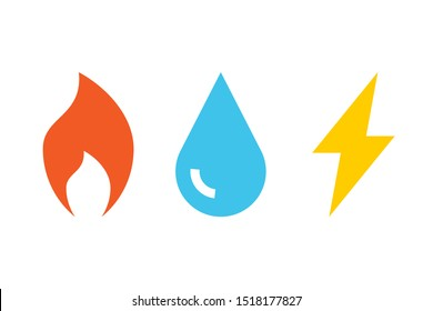 Gas Water Electricity icons. Clipart image isolated on white background. Miscellaneous sign symbol