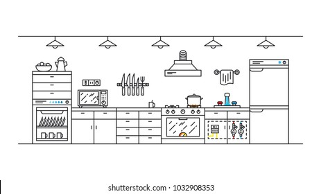 Gas and water meter in the kitchen vector illustration. Kitchen interior with home appliances line art concept.