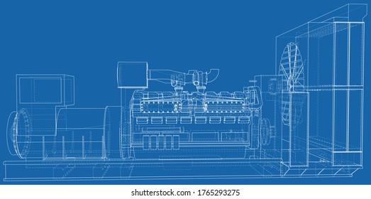 Gasmotor. Gasmotor ist ein Verbrennungsmotor, der mit einem Benzin betrieben wird. Wire-Rahmen-Linie einzeln auf Weiß. Vektorgrafik von 3d.