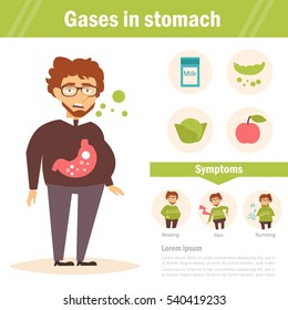 Gases in stomach. Vector. Cartoon. Isolated. Flat. Illustration for websites, brochures, magazines. Medicine