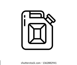Gasoline canister icon.Gasoline canister icon. Linear logotype or sign for oil producing company. Vector illustration - Vector