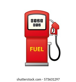 Gasoline fuel pump isolated. Petrol filling station icon.
