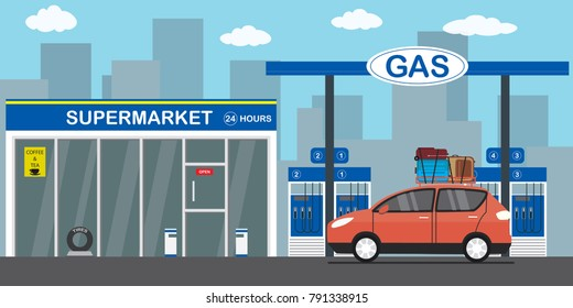Gasoline fuel station,red car with luggage on the roof,supermarket 24 hours,city on background,flat vector illustration