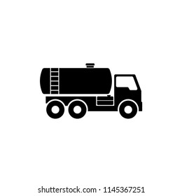 Gasoline Fuel Truck. Flat Vector Icon illustration. Simple black symbol on white background. Gasoline Fuel Truck sign design template for web and mobile UI element