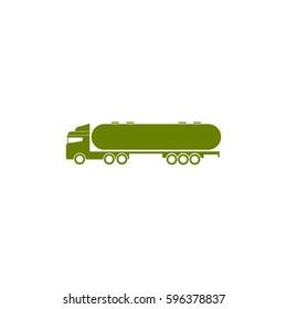 Gasoline fuel truck flat vector icon, fuel tanker icon, petrol truck icon, black oil transportation sign, oil truck icon