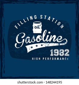 gasoline label over blue background vector illustration