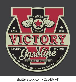 Gasoline motor typography, t-shirt graphics, vectors