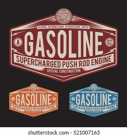 Gasoline motorcycle typography, t-shirt graphics, vectors