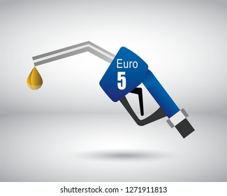 A Gasoline Nozzle vector with Euro 5 Emission rating or number for Diesel standard measure of the performance of an engine.