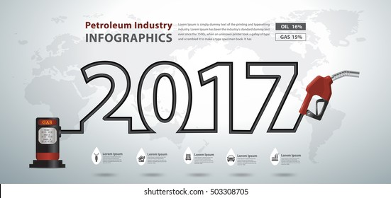 Gasoline pump nozzle creative design, Fuel pump icon, Petrol station sign, Happy new year 2017 calendar cover, typographic vector illustration modern layout template design