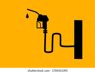 Gasoline pump nozzle sign. Fuel pump petrol station . Oil prices down,Save money. Vector.