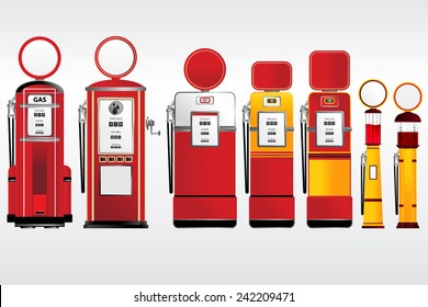 gasoline pumps retro and vintage style collection set vector