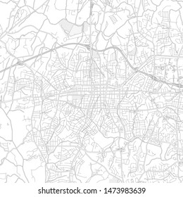 Gastonia, North Carolina, USA, bright outlined vector map with bigger and minor roads and steets created for infographic backgrounds.