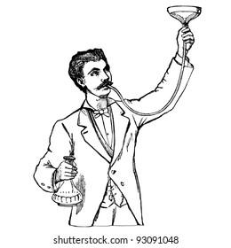 """Gastric lavage- vintage engraved illustration - """"Manuel des hospitalière et des garde-malaldes""""  edited by  Librairie Poussielgue - Paris 1907"""
