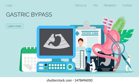 Gastroenterology landing page vector. Gastric bypass medical concept. Tiny doctors make surgery procedure and ultrasound scanning of stomach.The esophagus, duodenum and jejunum are shown.
