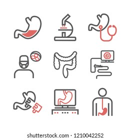 Gastroenterology line icons. Hospital department. Health center. Vector sign for web graphics.
