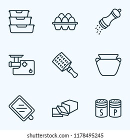 Gastronomy icons line style set with cutting board, food containers, hand grater pottery elements. Isolated vector illustration gastronomy icons.