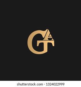 GAT, GTA logo vector. Golden initial logo on black background