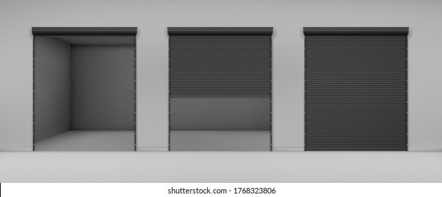 Gate with black rolling shutter in gray wall. Vector realistic illustration of hallway in garage or warehouse with closed and open roller up blinds. Building facade with automatic doors