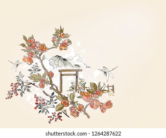 gate blossom dragonfly mountain  nature landscape view vector sketch illustration japanese chinese oriental line art ink card background