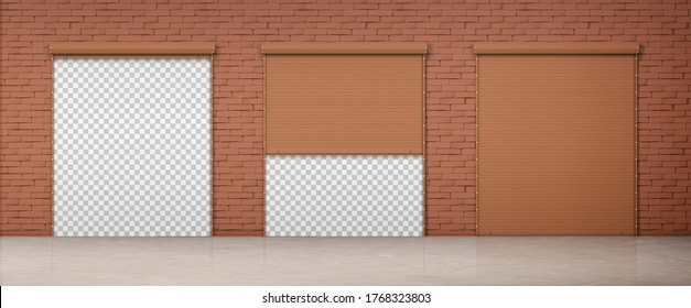 Gate with brown rolling shutter in brick wall. Vector realistic set of closed and open roller up for garage or warehouse door. Building facade with blinds and transparent background behind