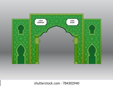 Gate entrance exhibition booth islamic ornament style green color. Vector editable.