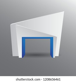 Gate entrance exhibition vector with blue combine for mock up