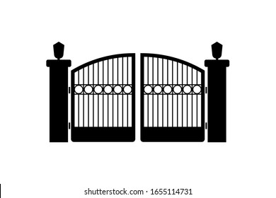 Gate or fence icon design isolated on white background. Vector illustration