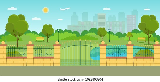 Gate and fence in the park. Summer landscape. Vector flat style illustration